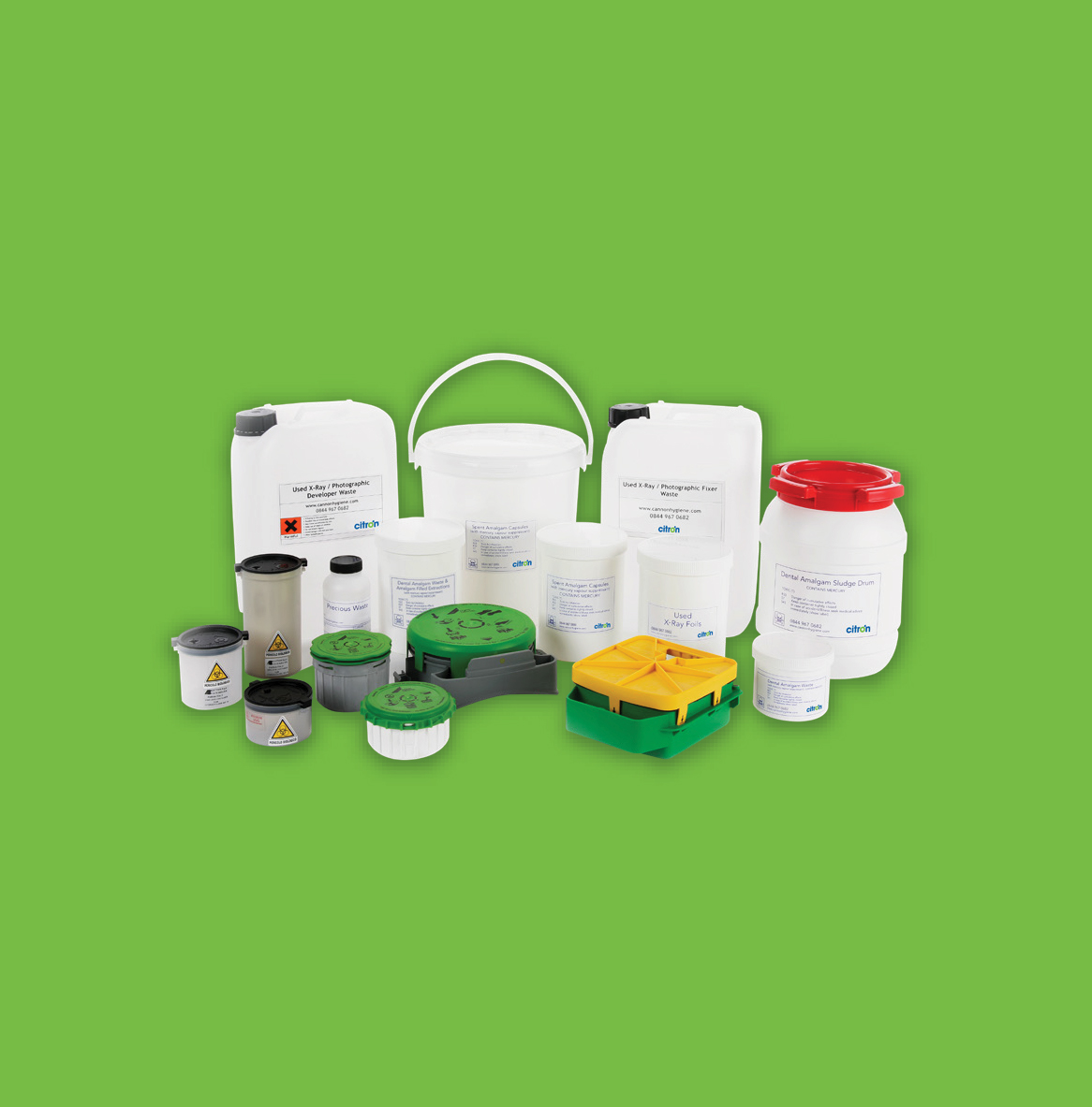 Dental waste management package contents - dental waste management
