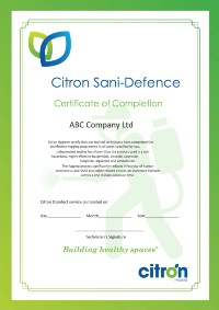 Certificate for Sani-Defence